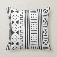 Black | White African MudCloth Inspired Throw Pillow