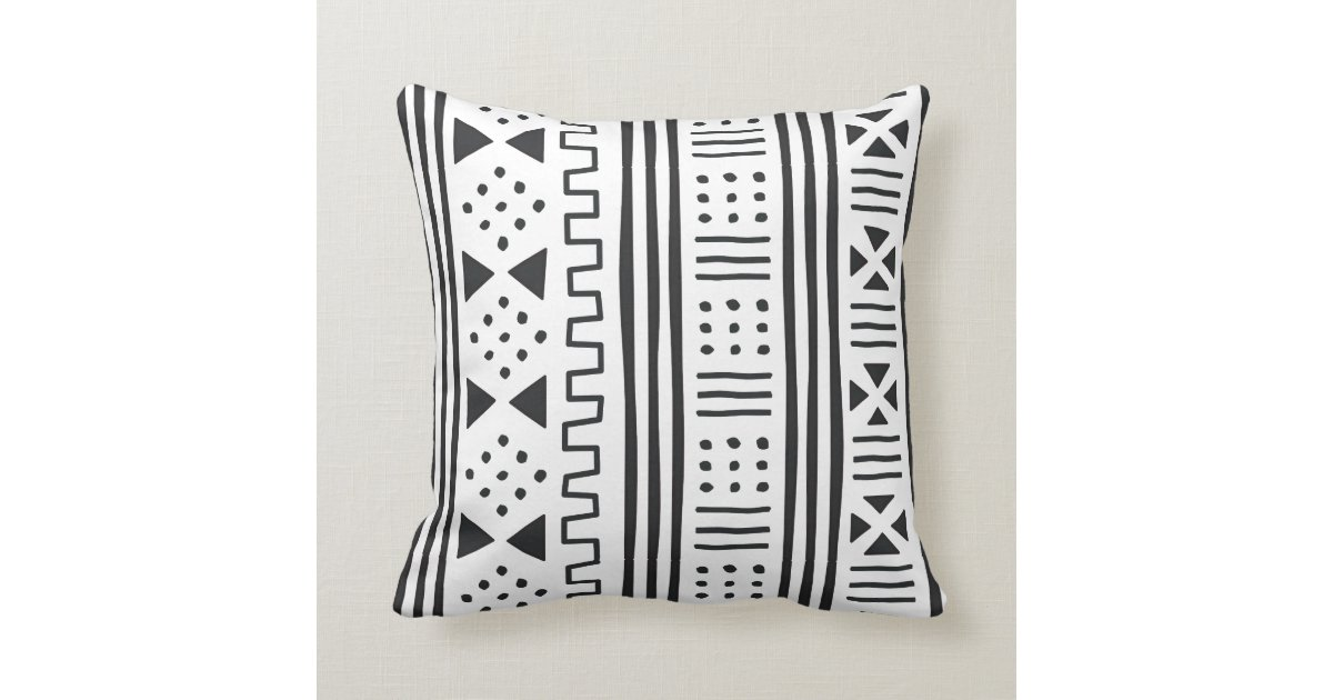 Black White African Mudcloth Inspired Throw Pillow