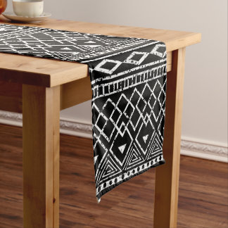 Black White African Tribal Pattern Short Table Runner