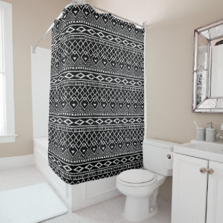 Black White African Tribal Pattern Shower Curtain