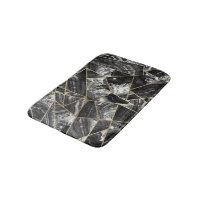 Black White Agate Black Gold Geometric Triangles Bathroom Mat