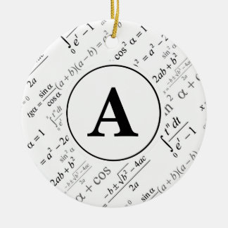 Black White Algebra Math Monogram Initial Ceramic Ornament