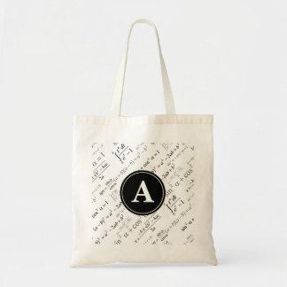 Black White Algebra Math Monogram Initial Tote Bag