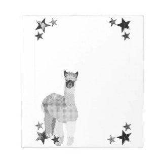 Black & White Alpaca Art Notepad