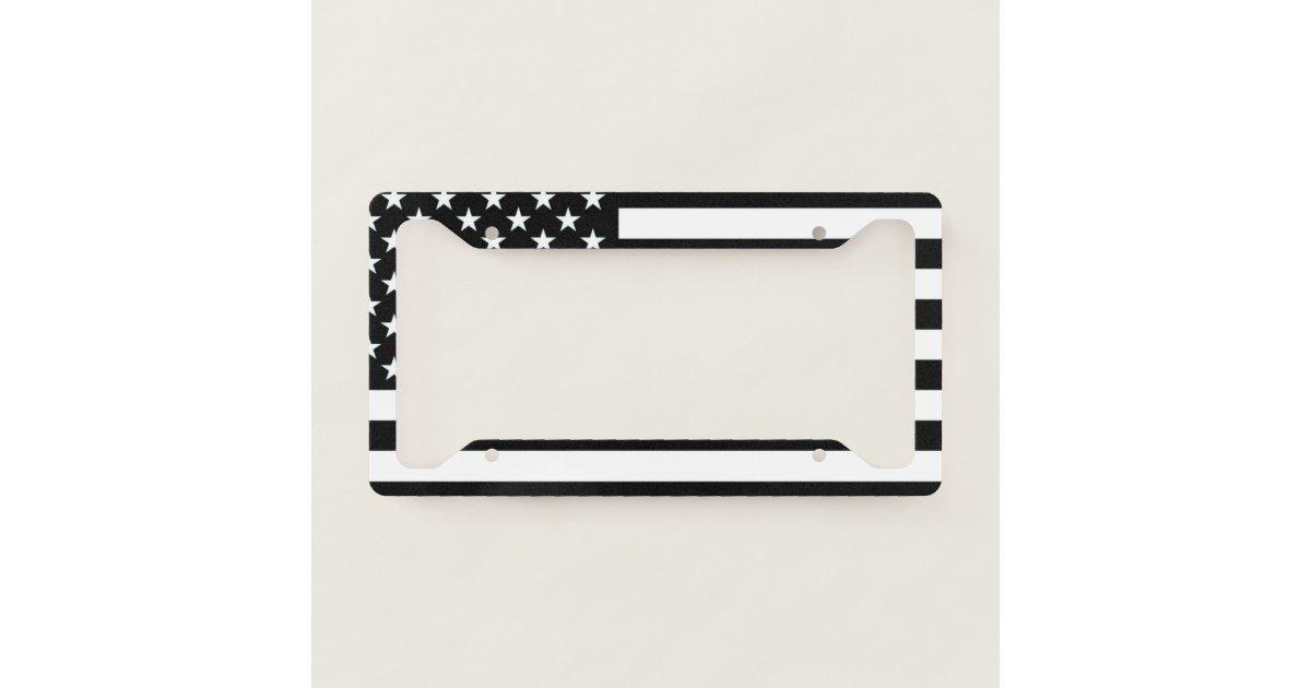 Black Amp White American Flag License Plate Frame Zazzle Com