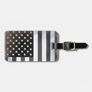 Black & White American Flag Luggage Bag Tag