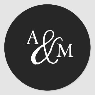 Black & White Ampersand Monogram Wedding Classic Round Sticker