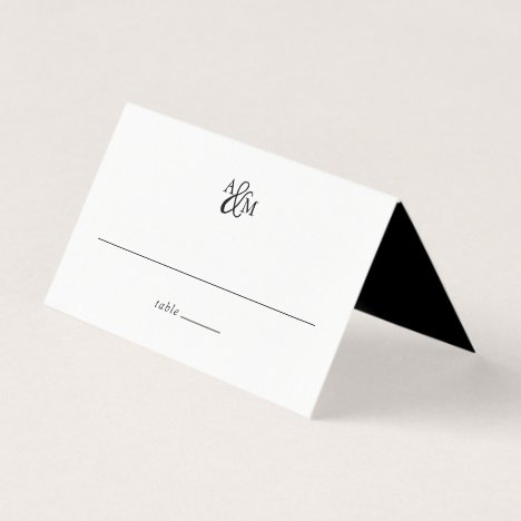 Black & White Ampersand Monogram Wedding Place Card