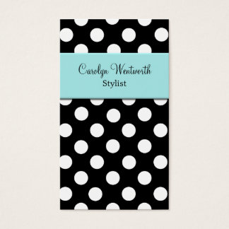 Black, White, and Aquamarine Ladies Business Card