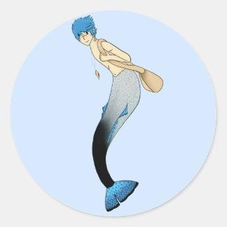 Black White and Blue Anime Merman Classic Round Sticker