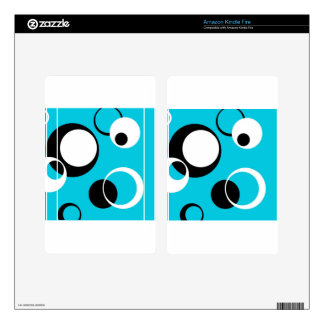 Black white and Blue Circles Skin For Kindle Fire