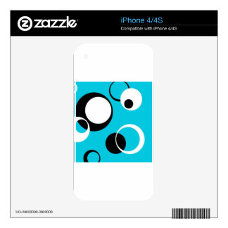 Black white and Blue Circles Skins For iPhone 4S