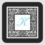 Black, White, and Blue Damask Monogram Sticker