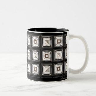 Black White and Brown Retro Squares Mug