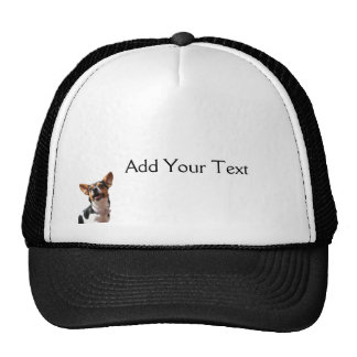 Black White and Brown Smiling Puppy Cap Trucker Hat