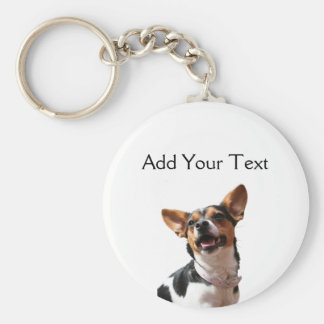 Black White and Brown Smiling Puppy Keychain