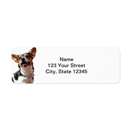 Black White and Brown Smiling Puppy Return Address Return Address Label