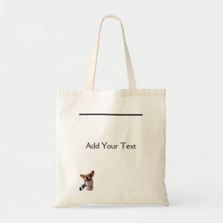 Black White and Brown Smiling Puppy Tote Bag