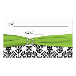 Black, White, and Chartreuse Damask Placecards Business Card Template