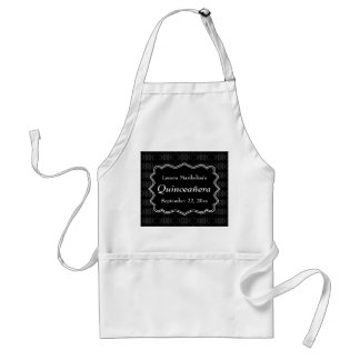Black, White and Dark Gray Floral Quinceanera Adult Apron