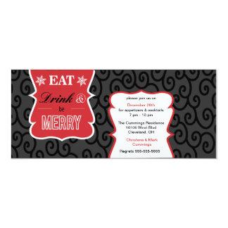 Black, White and Elegant Holiday Party Invitation
