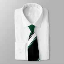 Black White and Evergreen University Stripe Neck Tie