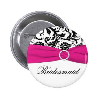 Black, White, and Fuchsia Damask Bridesmaid Pin