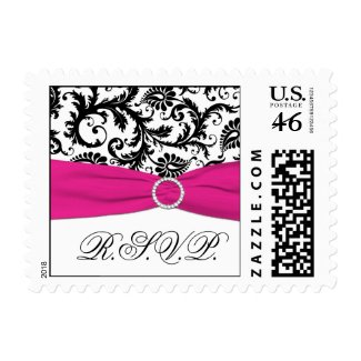 Black, White, and Fuchsia Damask RSVP Postage stamp