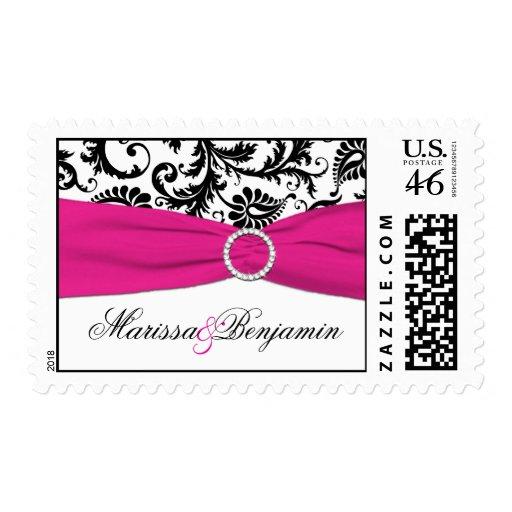 Black, White, and Fuchsia Damask Wedding Postage