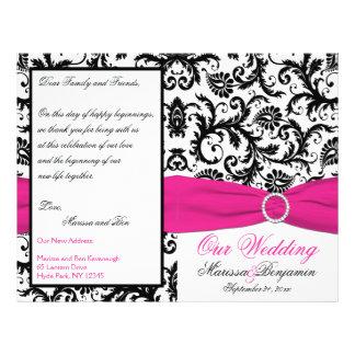 Black, White, and Fuchsia Damask Wedding Program