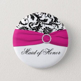 Black, White, and Fuchsia Maid of Honor Pin
