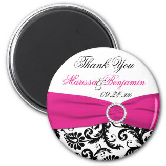 Black, White, and Fuchsia Wedding Favor Magnet
