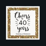 "Black White and Gold 40th Birthday Napkin<br><div class=""desc"">Cheers to 40 years napkins,  perfect for the 40th birthday party celebration. You can easily personalize the number of years you need along with adding their name. The 40th napkin has a beautiful gold glitter design. Please note there is not actual glitter on the product.</div>"