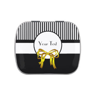 Black White and Gold  Decorative Jelly Belly Tins