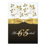 "Black, White, and Gold Floral 65th Birthday Invite 5"" X 7"" Invitation Card"