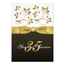 Black, White, and Gold Floral Corporate Retirement Card