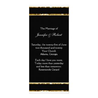 Black White and Gold Glitter Wedding Program