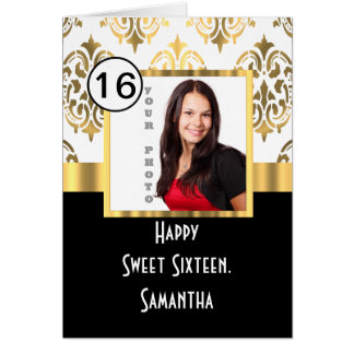 Black, white and gold instagram sweet sixteen card