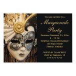 """Black White and Gold Masquerade Party Invitations 5"""" X 7"""" Invitation Card"""