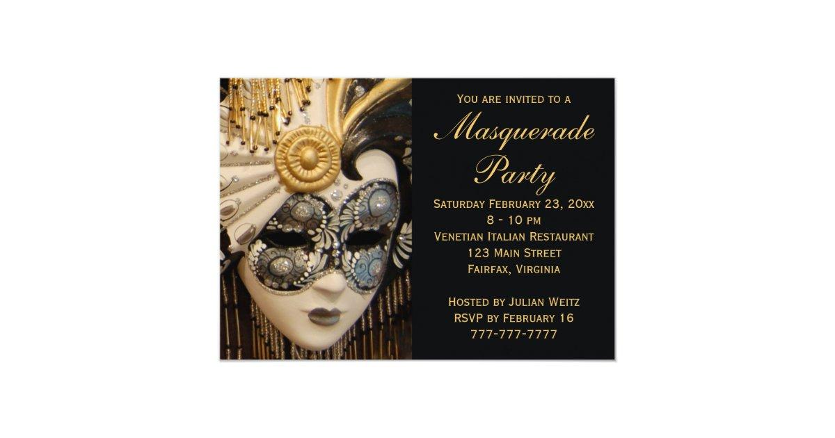Black White And Gold Masquerade Party Invitations Zazzle