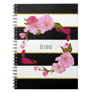 Black White and Gold Modern Floral Chic Glam Notebook