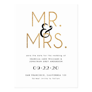 Black, White and Gold Mr & Mrs Save The Date Postcard