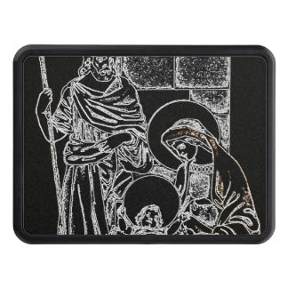 BLACK WHITE AND GOLD NATIVITY HITCH COVER