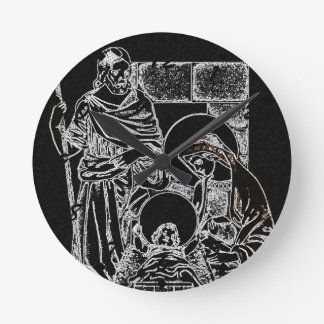 BLACK WHITE AND GOLD NATIVITY ROUND CLOCK