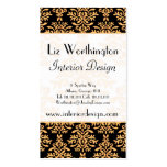 Black, White and Gold Royal Gilded Damask Business Card