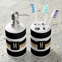 Black White and Gold Striped Monogram Bathroom Set