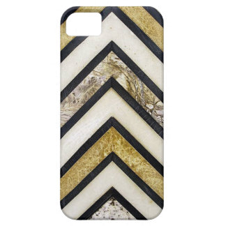 Black white and gold textured chevron pattern. iPhone 5 cases