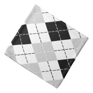 Black White and Gray Argyle Bandana