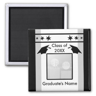 Black, White and Gray Graduation (photo frame) 2 Inch Square Magnet