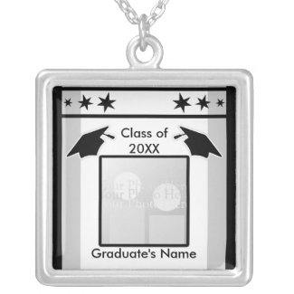 Black, White and Gray Graduation (photo frame) necklace